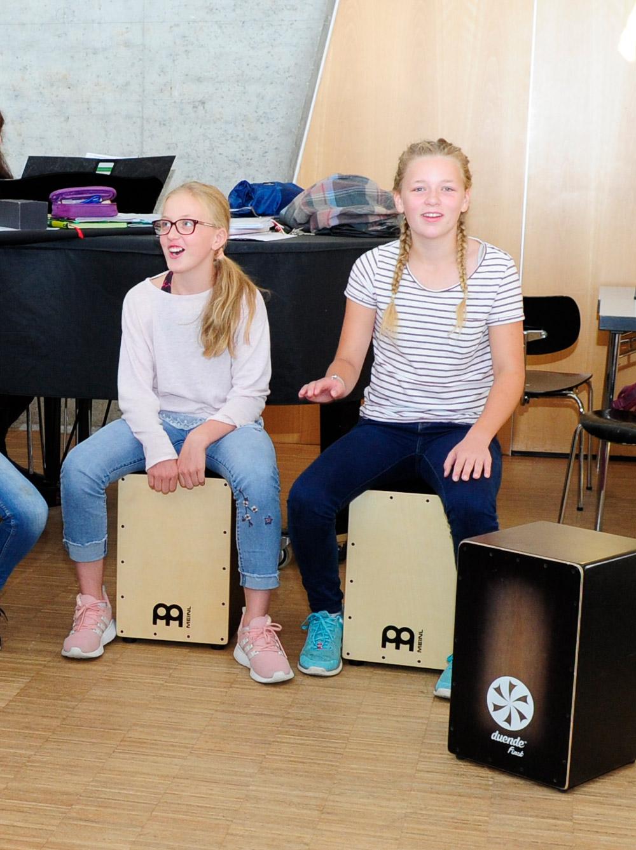 Schüler und Schülerinnen lernen im Musikunterricht verschiedene Instrumente kennen